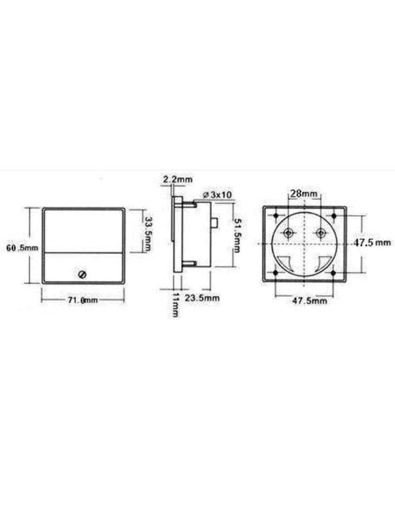 Hopesun Analogue panel meter 15VDC - 70 x 60mm