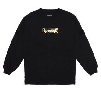 SpeedQB WOODLAND CAMO BOX LOGO LS TEE - BLACK