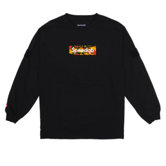 SpeedQB ORANGE CAMO BOX LOGO LS TEE - BLACK