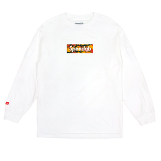 SpeedQB ORANGE CAMO BOX LOGO LS TEE - WHITE