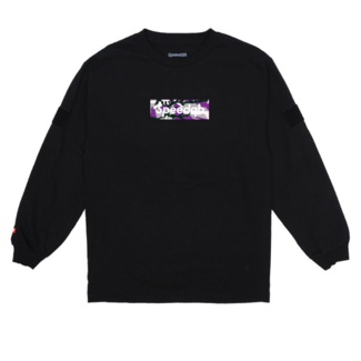 SpeedQB PURPLE CAMO BOX LOGO LS TEE - BLACK