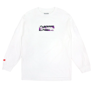 SpeedQB PURPLE CAMO BOX LOGO LS TEE - WHITE