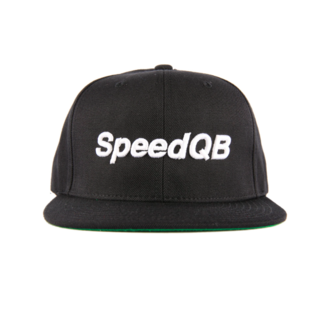 "SpeedQB ""WORDMARK"" 6 PANEL SNAPBACK - BLACK"