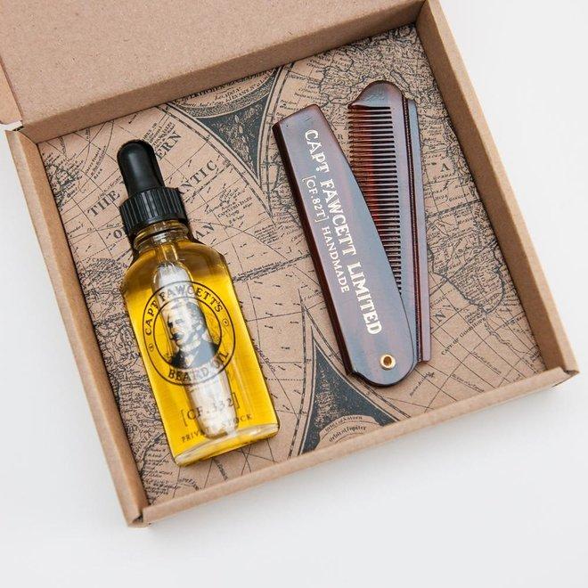 Captain Fawcett beard oil & comb gift set