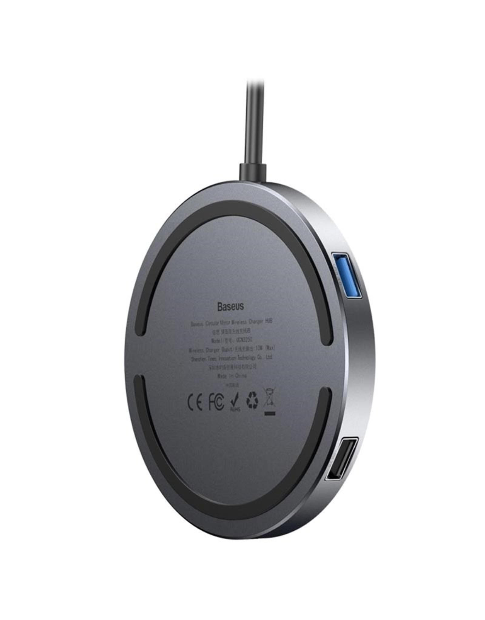 Baseus Baseus Circular Mirror Wireless Charger USB + HDMI Hub (Deep Grey)