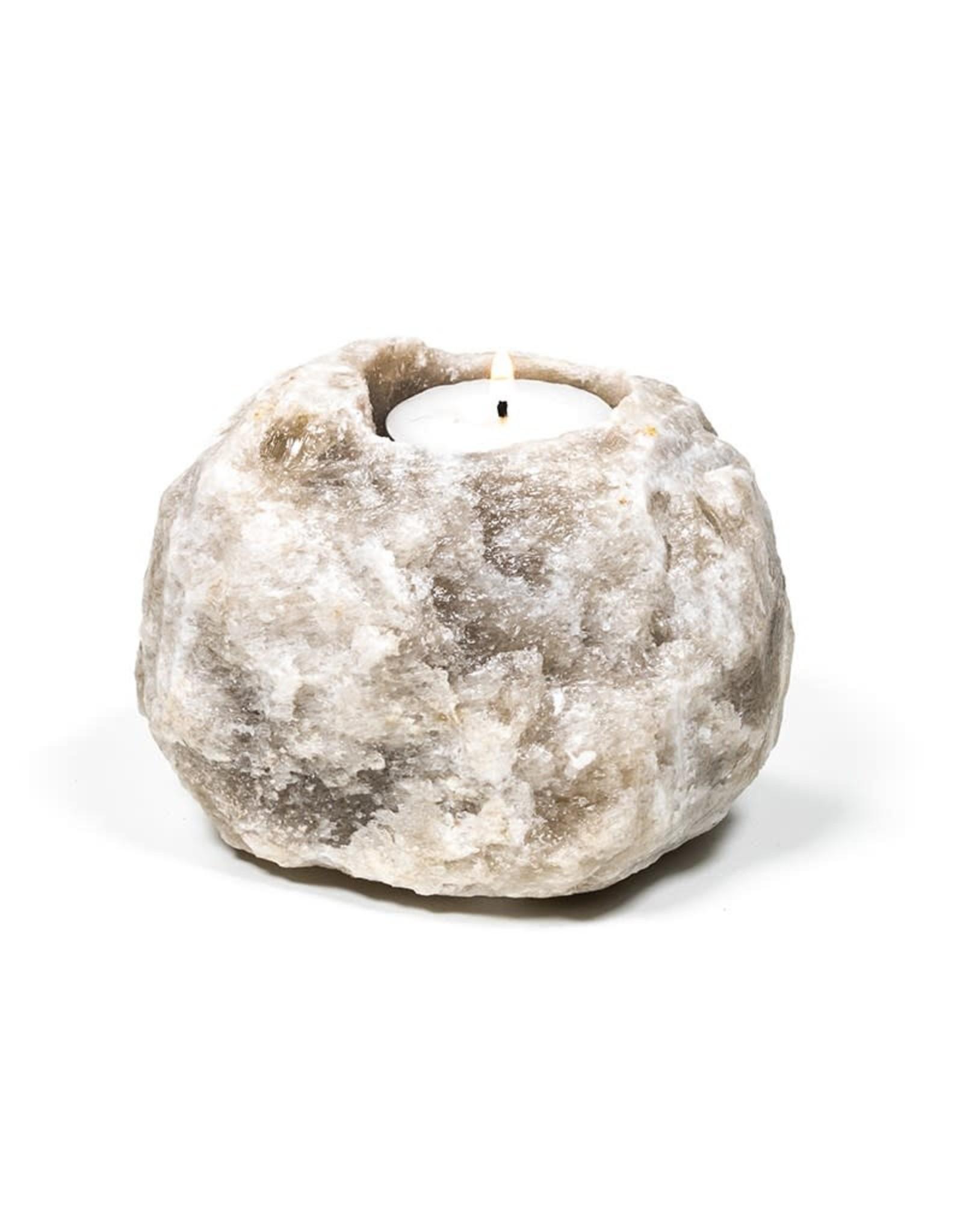 Waxinehouder Himalaya Zoutkristal Grijs