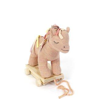 Smallstuff Gebreid Trekdier Paard | Poeder Roze - Goud
