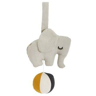 Roommate Muziek Mobiel Elephant on Ball | Grey