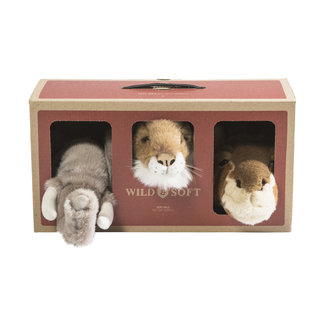 Wild & Soft Safari Box Mini | Leeuw, Olifant & Giraf