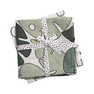 Done by Deer Hydrofiele doek - Swaddle 2-pack | Tiny Tropics Green