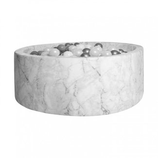 KIDKII Ballenbad Velvet Rond 90x40   White Marble