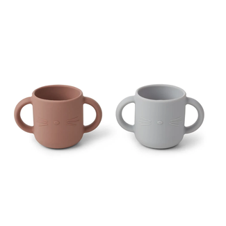 Liewood Drinkbeker - Gene silicone cup 2-pack | Cat Dumbo Grey
