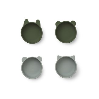 Liewood Iggy silicone bowls - 4 pack | Hunter Green Mix