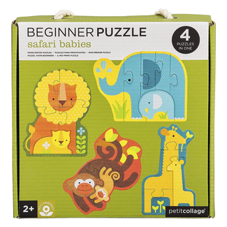 Petit Collage Puzzel voor Beginners | Baby safaridieren