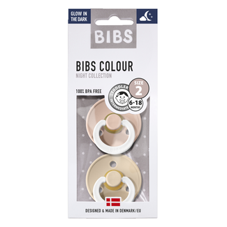 BIBS Fopspeen Duopak GID Blush & Vanilla 6- 18 mnd