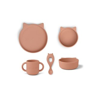 Liewood Vivi Siliconen Kinderservies | Cat Dark Rose
