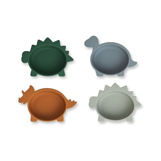 Liewood Iggy silicone bowls - 4 pack | Dino Blue Multi Mix
