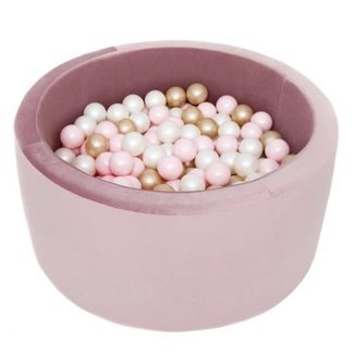 Misioo Ballenbak XL Rond 90x40 | Velvet Light Purple incl. 150 ballen (Light Gold/Wit/Light Pink)