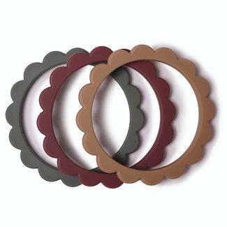 Mushie Bijtring - Teether Flower Bracelet 3-pack | Thyme / Natural / Berry