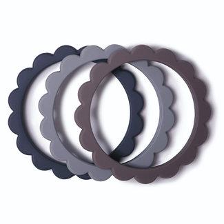 Mushie Bijtring - Teether Flower Bracelet 3-pack | Steel / Dark Grey / Stone