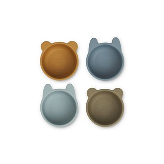 Liewood Malene Silicone Bowls - 4 pack   Golden Caramel / Blue Multi Mix