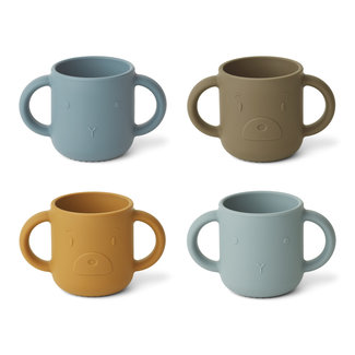 Liewood Drinkbeker - Gene silicone cup 4-pack | Blue Multi Mix