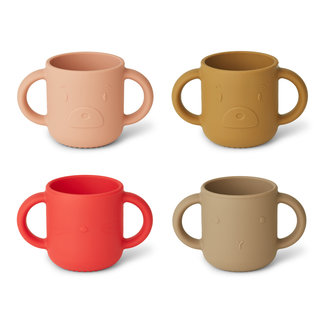 Liewood Drinkbeker - Gene silicone cup 4-pack | Apple Red / Tuscany Rose Mix