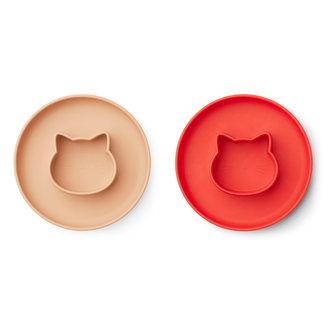 Liewood Gordon Bord 2-pack | Cat Apple / Tuscany Rose Mix