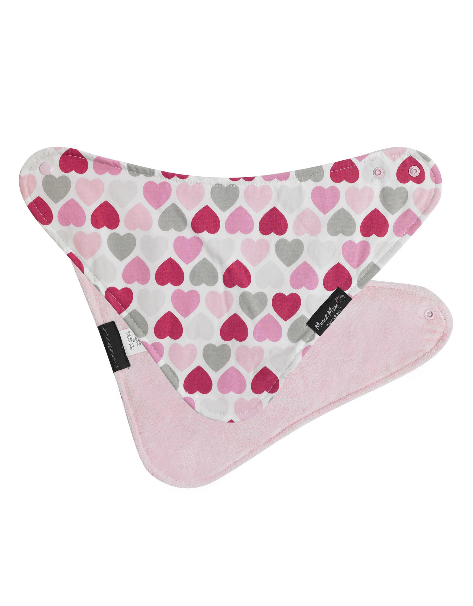 Mum2Mum Mum2Mum Fashion Bib Hearts Baby Pink 6 pieces