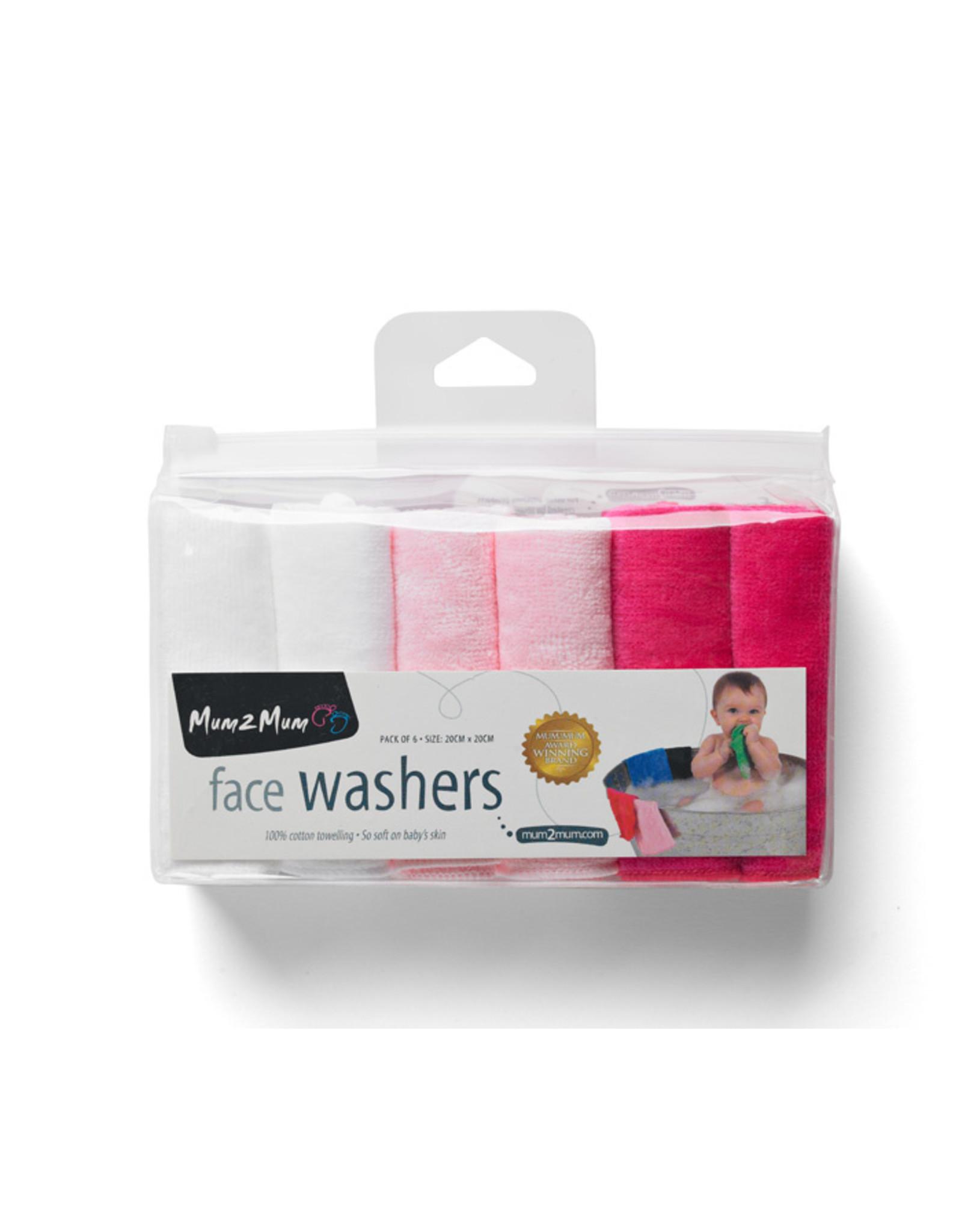 Mum2Mum Face Washers  Girl Mix 6 stuks in een verpakking