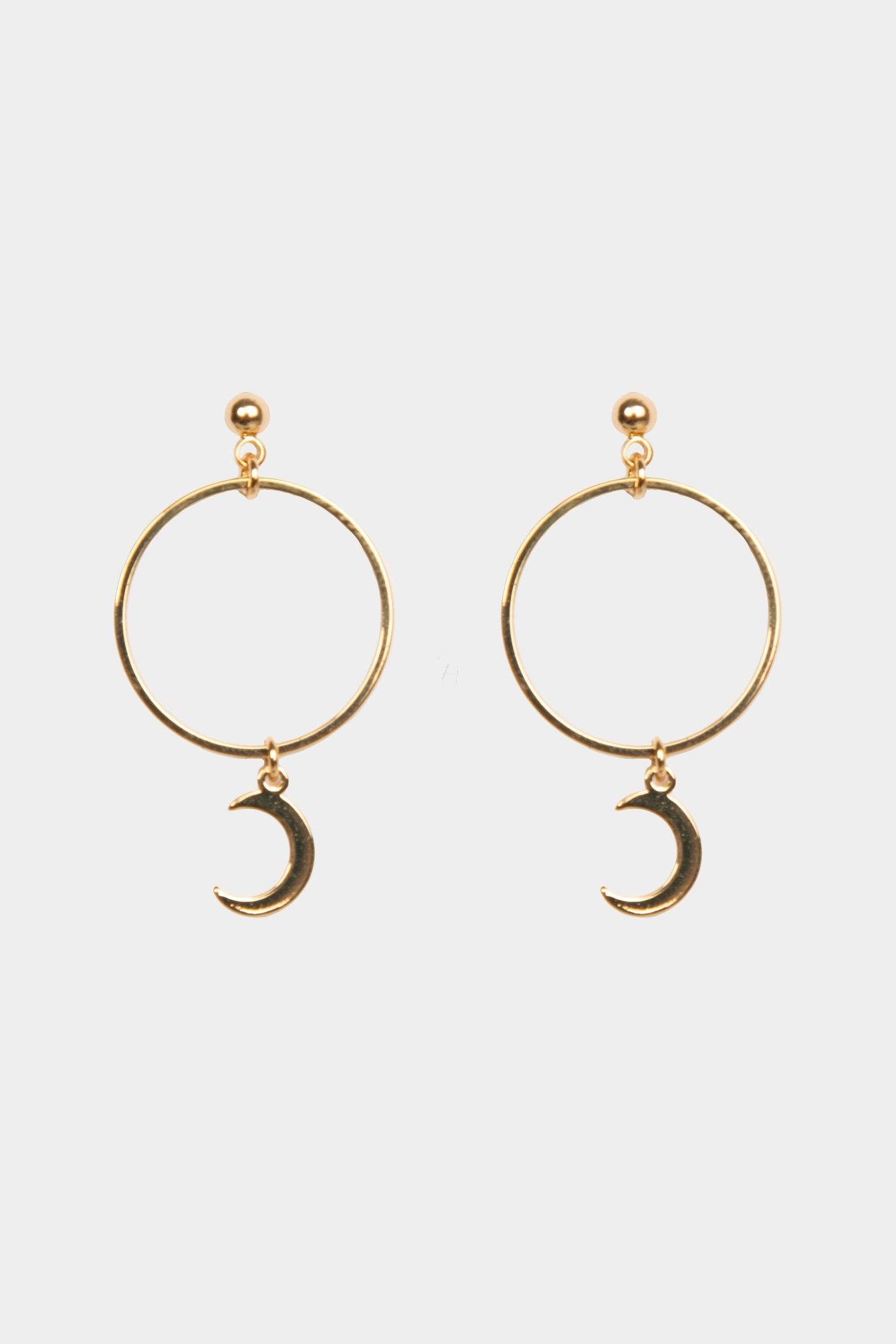 Earring moon gold