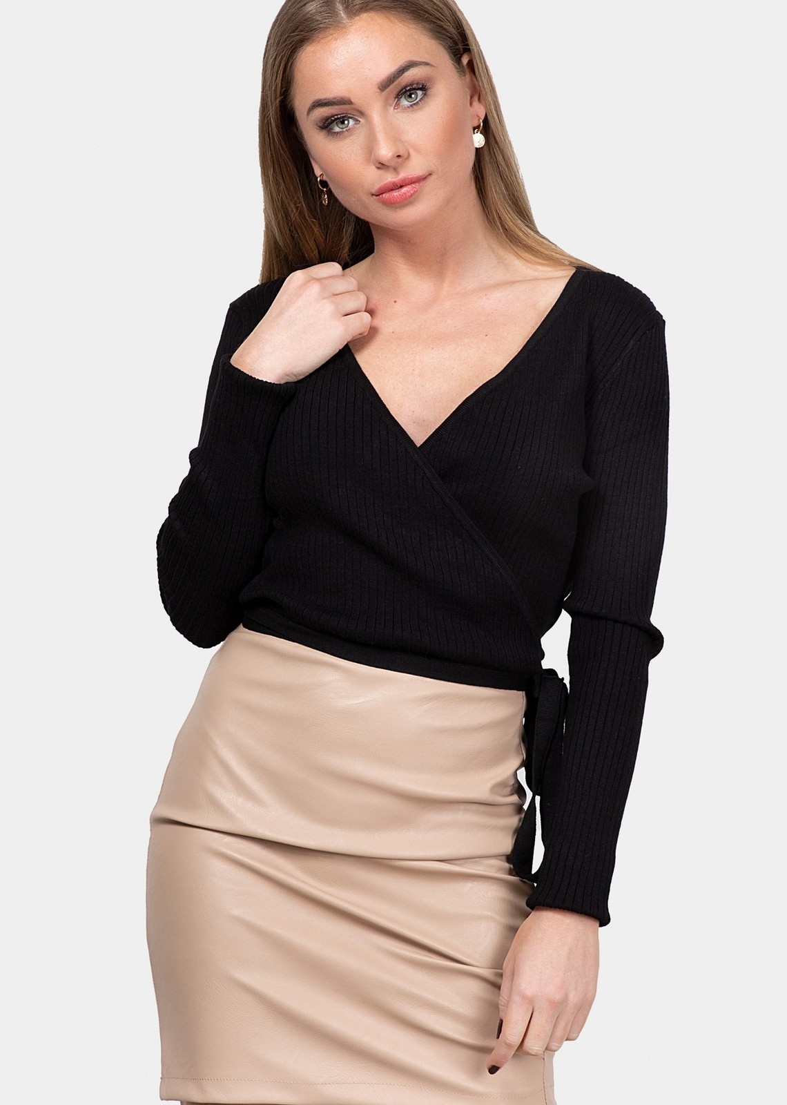 Rib wrap top Diona black