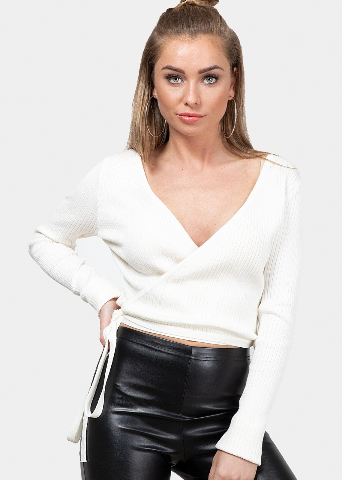 Rib wrap top Diona white