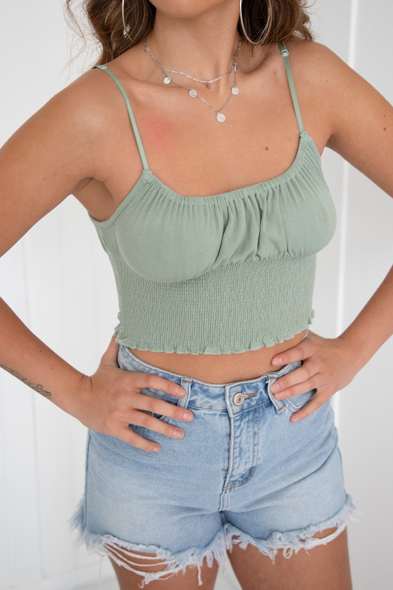 Crop top Inaya mint groen