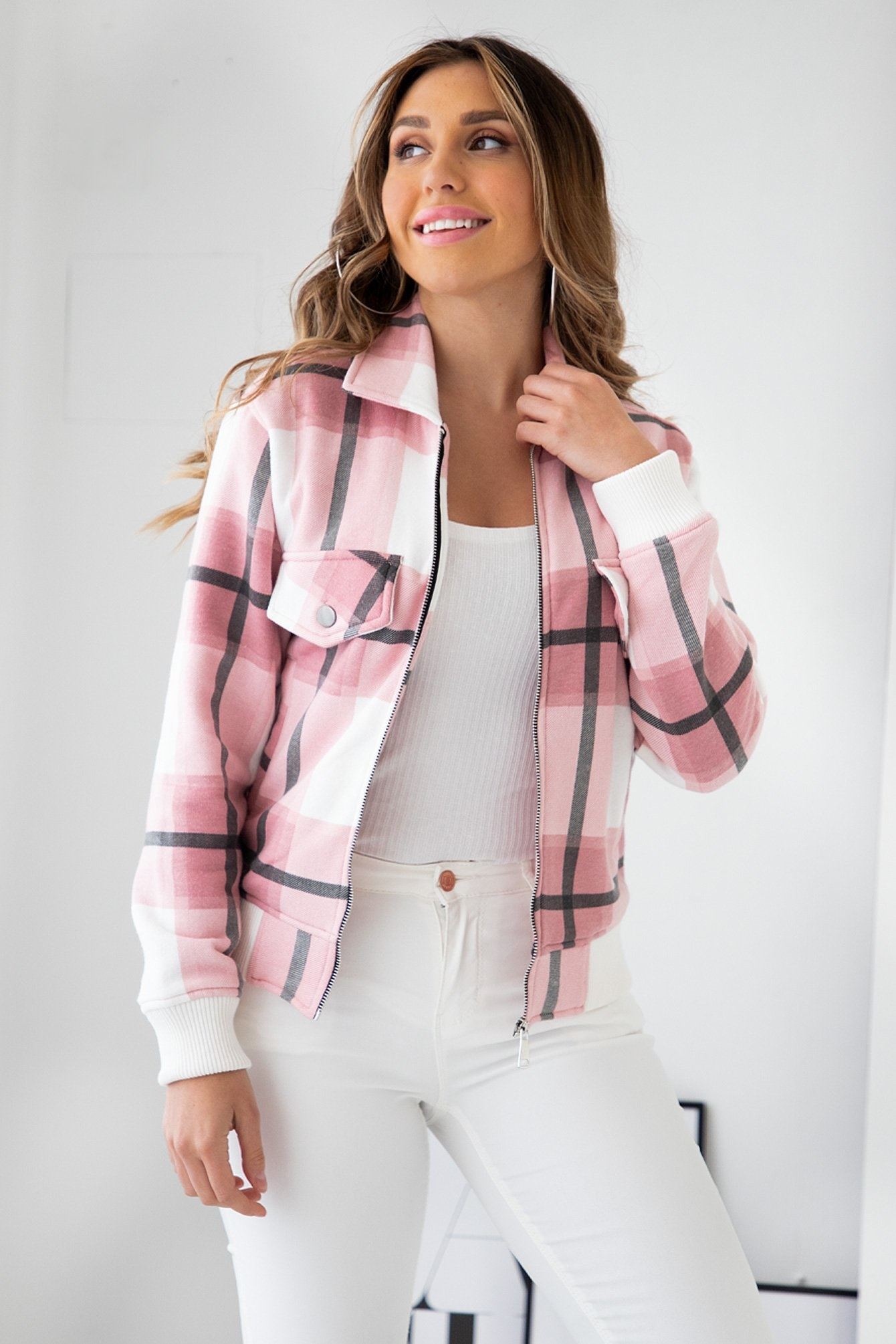 Tartan bomberjacket pink