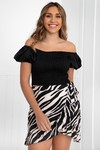 Off shoulder crop top zwart