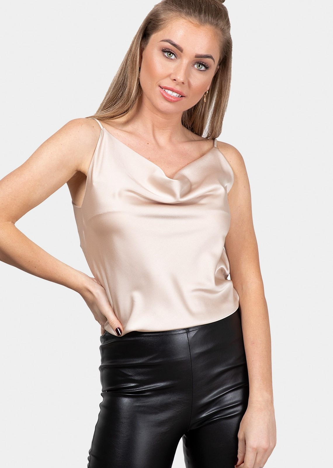 Satin top beige