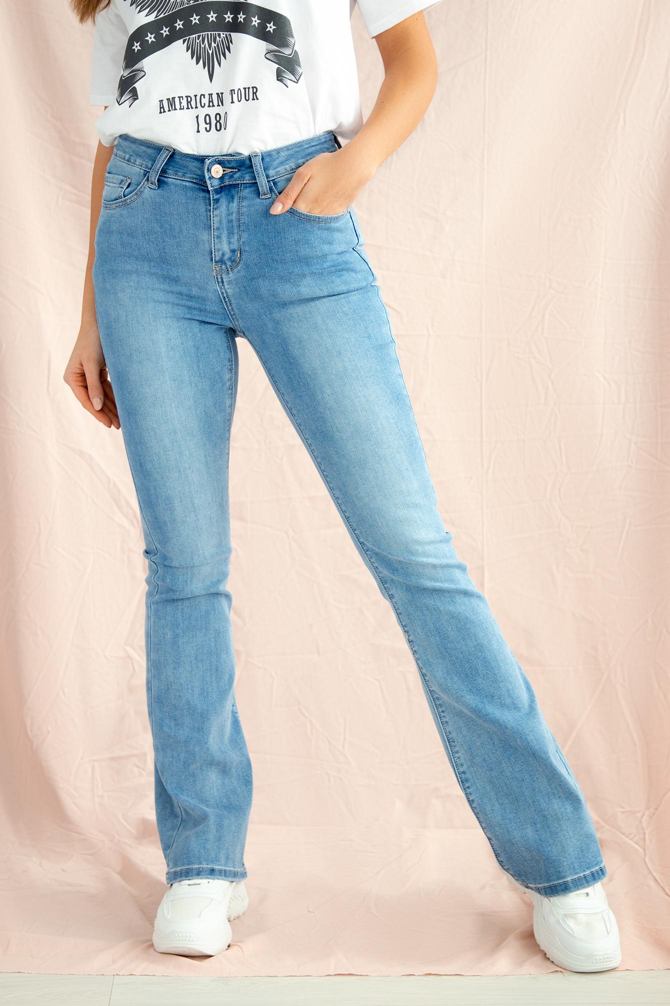 Flare broek denim blauw