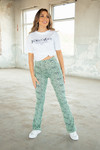 Cheetah flare pants mint\groen