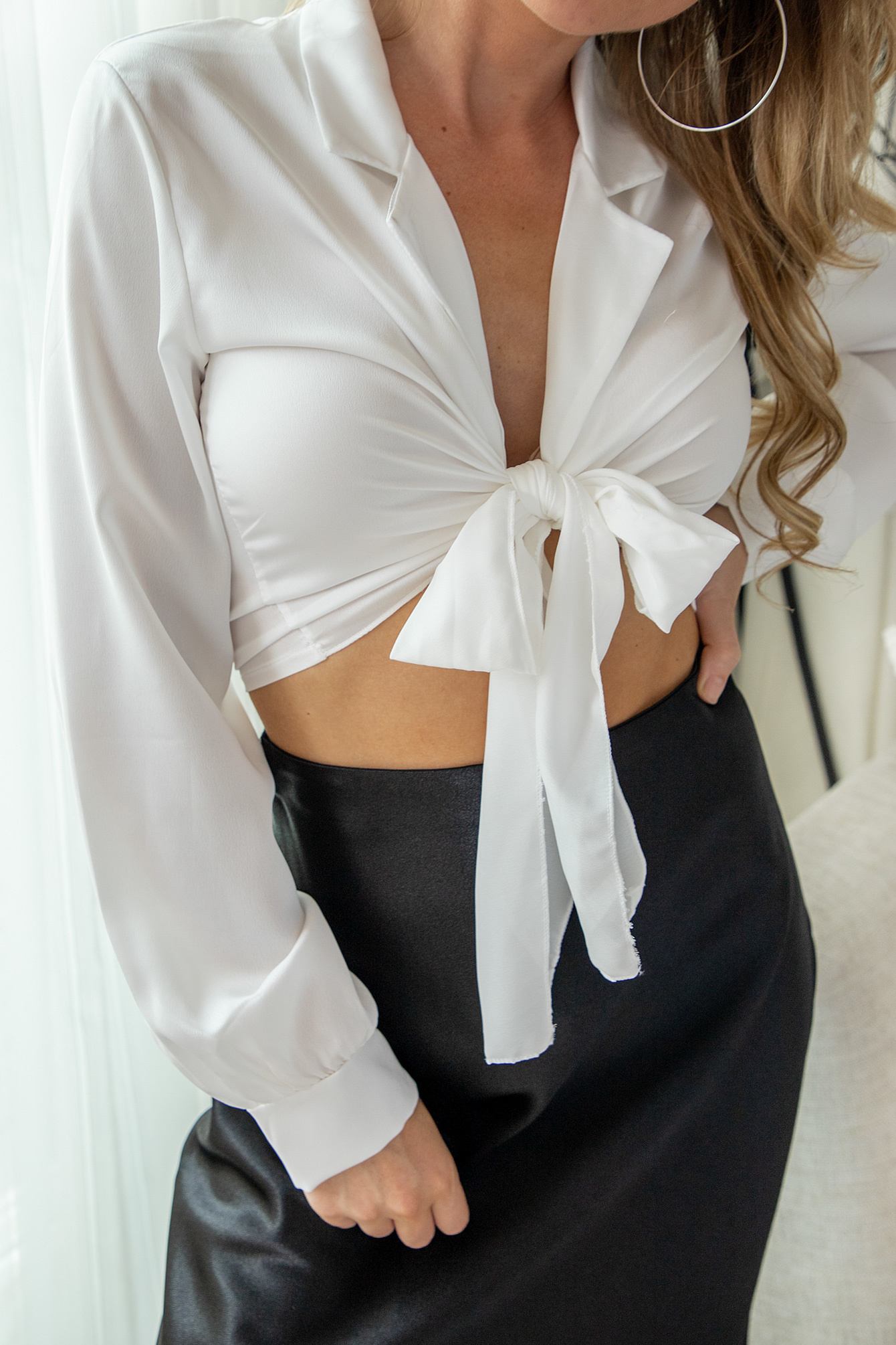 Wrap tie top white