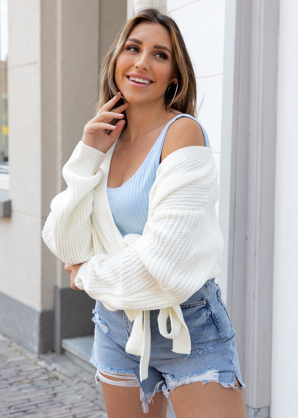 Wrap knit Jazz off white