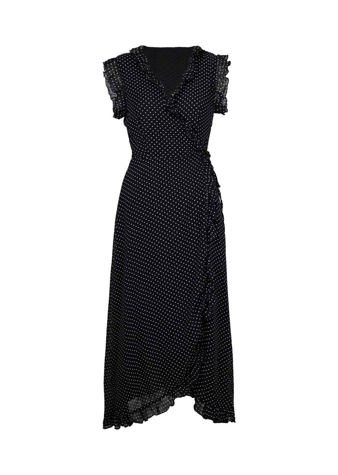 Maxi wrap jurk in dots