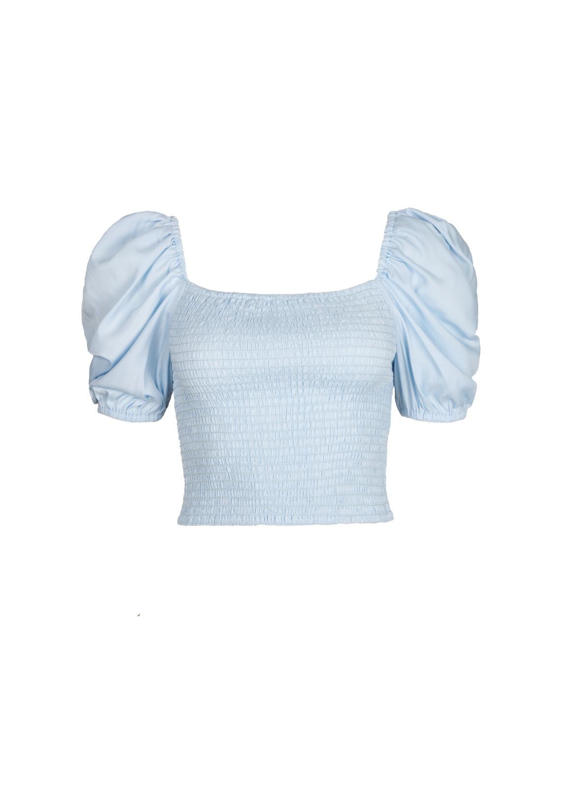 Off shoulder crop top blauw