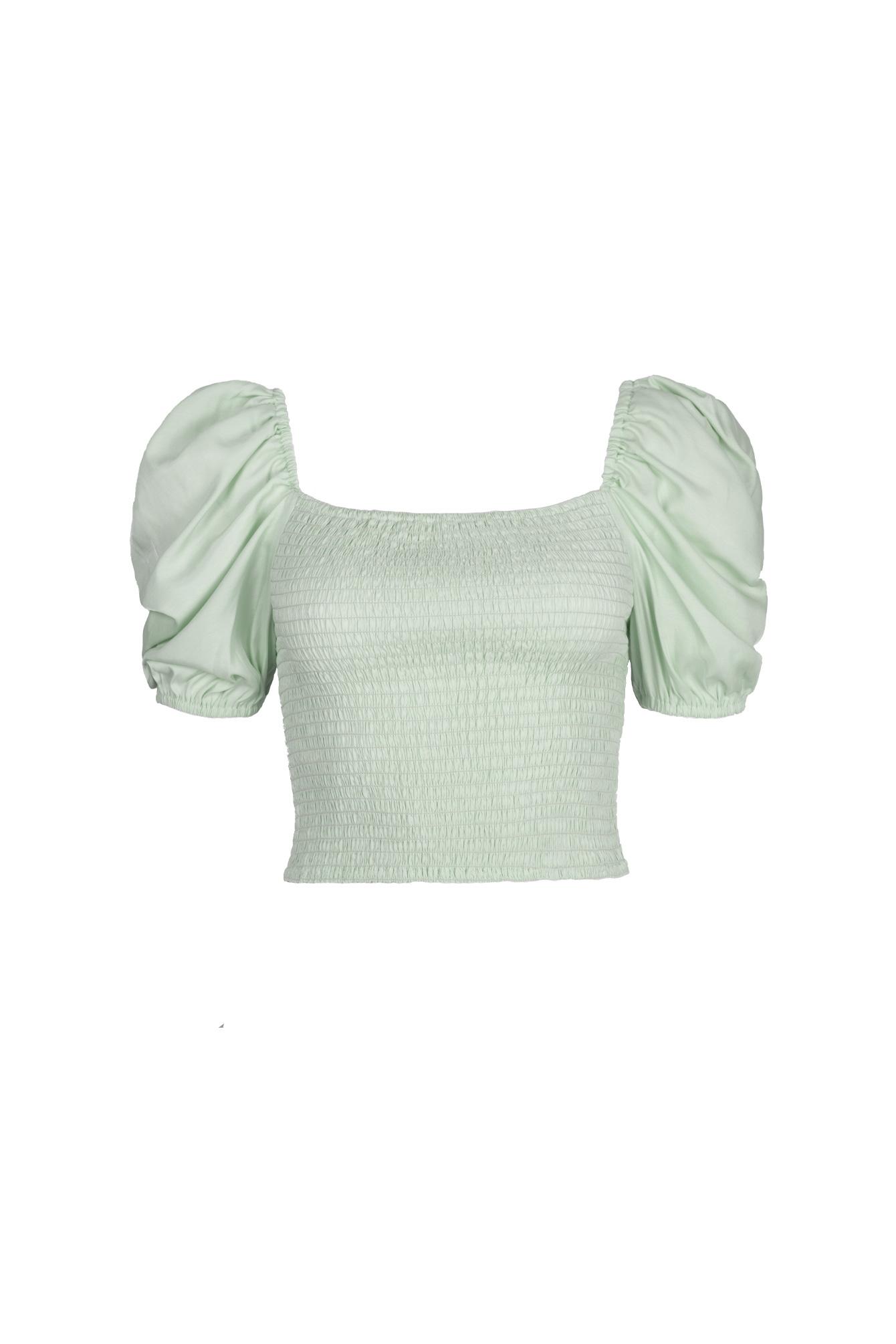 Off shoulder crop top mint groen