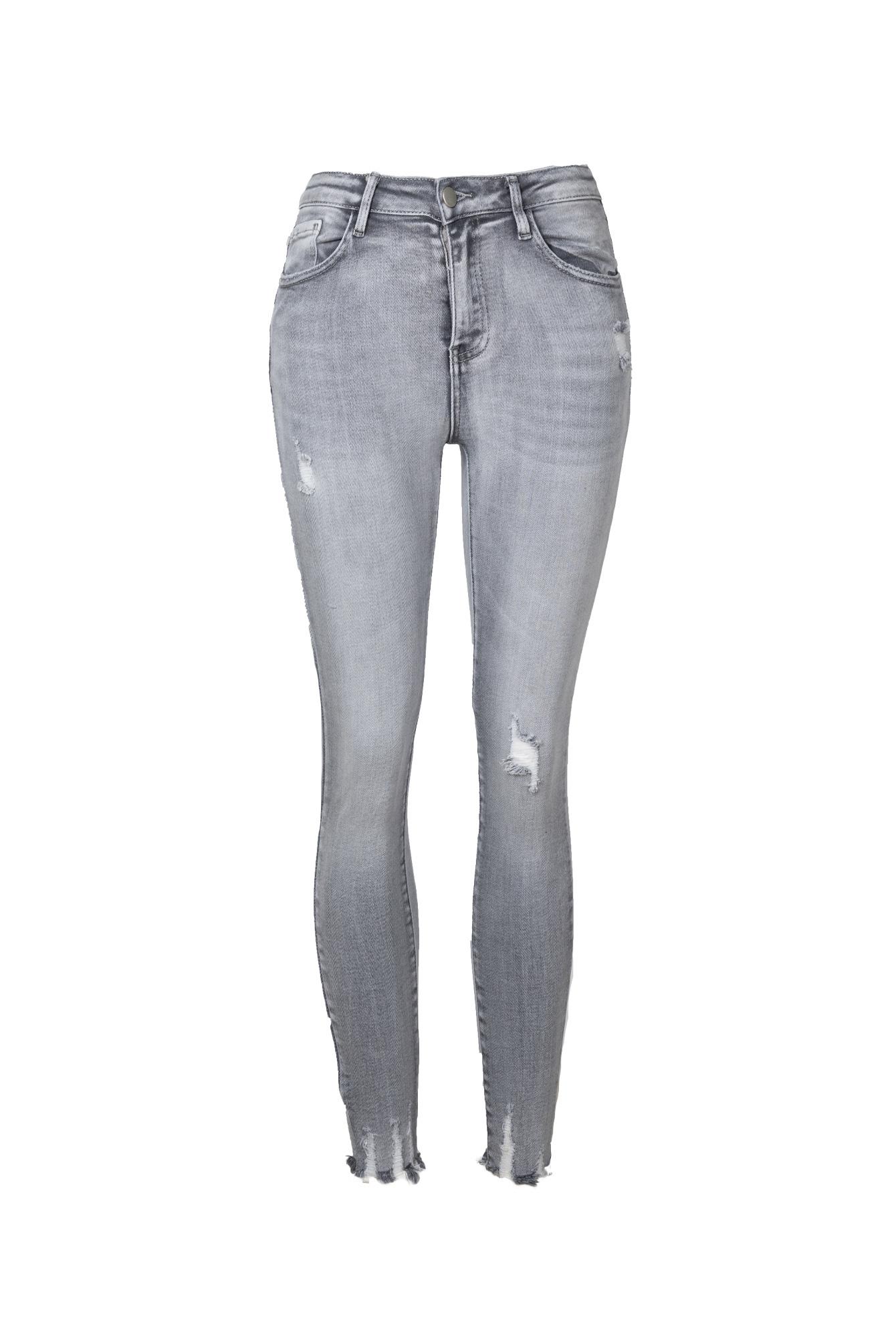 Distressed skinny jeans grijs Lexi