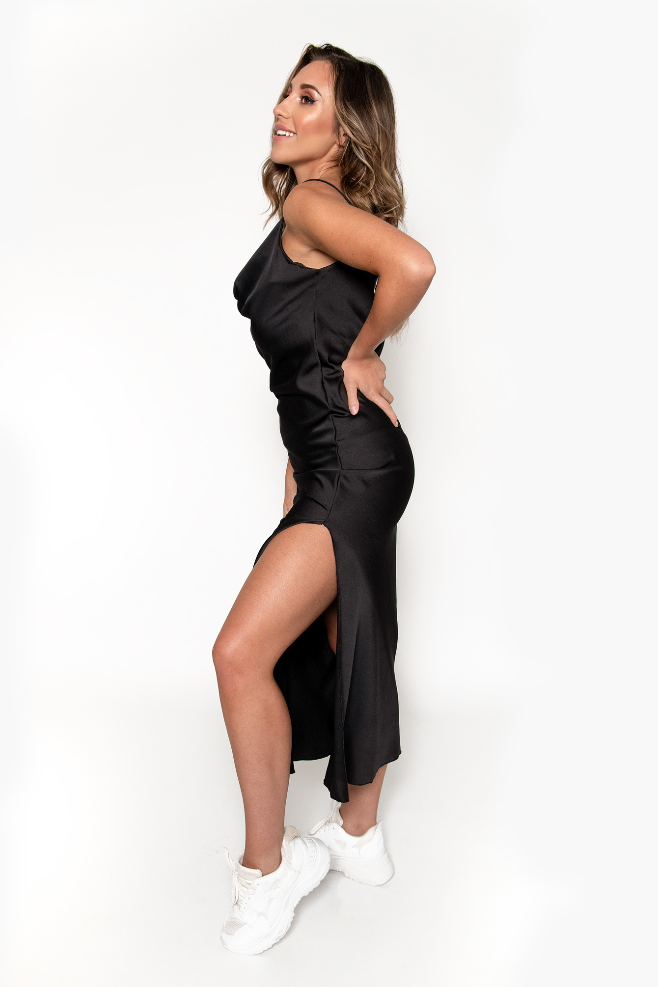 Long satin dress black