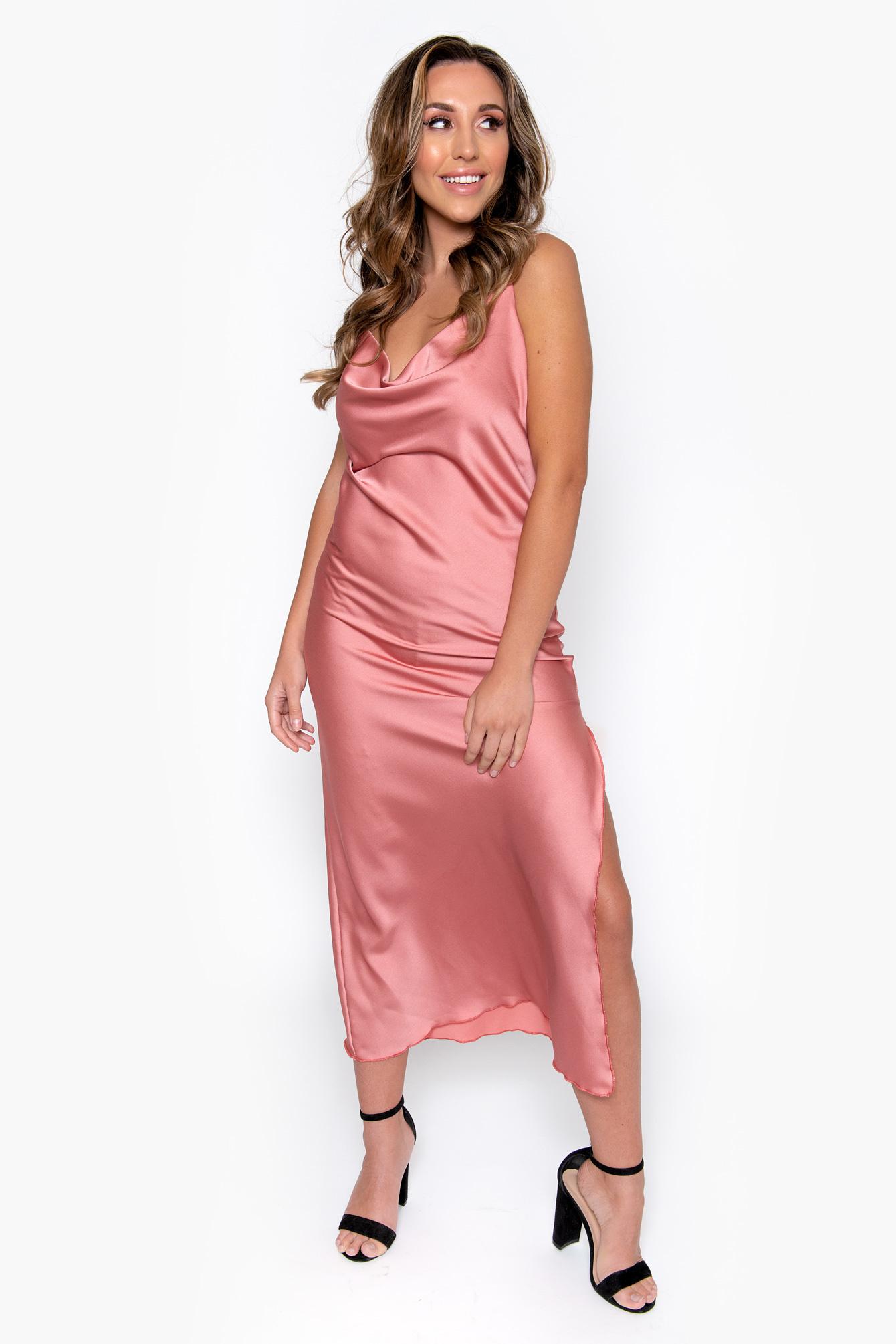 Long satin dress pink