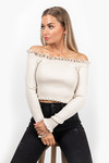 Off shoulder top beige