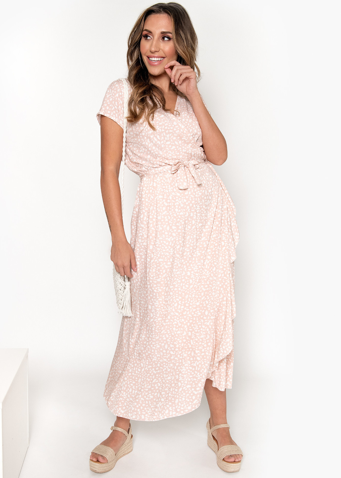 Long wrap dress Gina pink