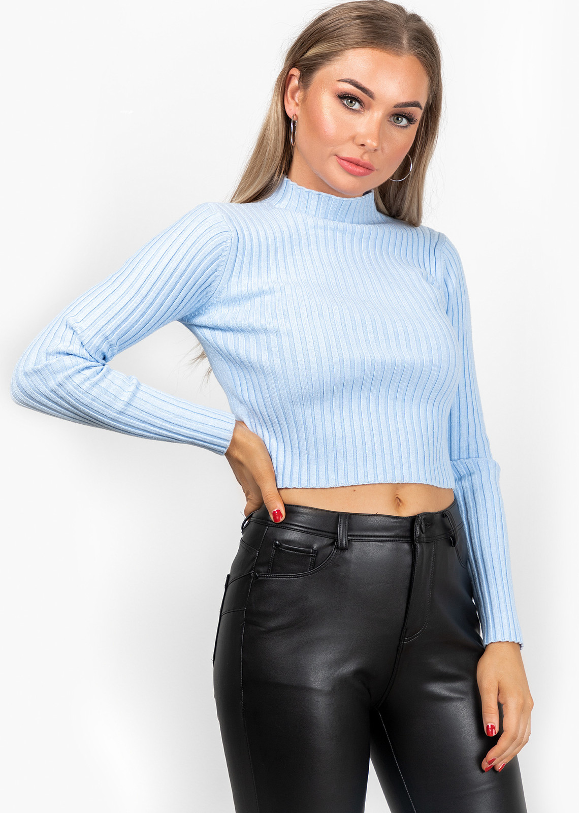 Basic top Valerie blauw